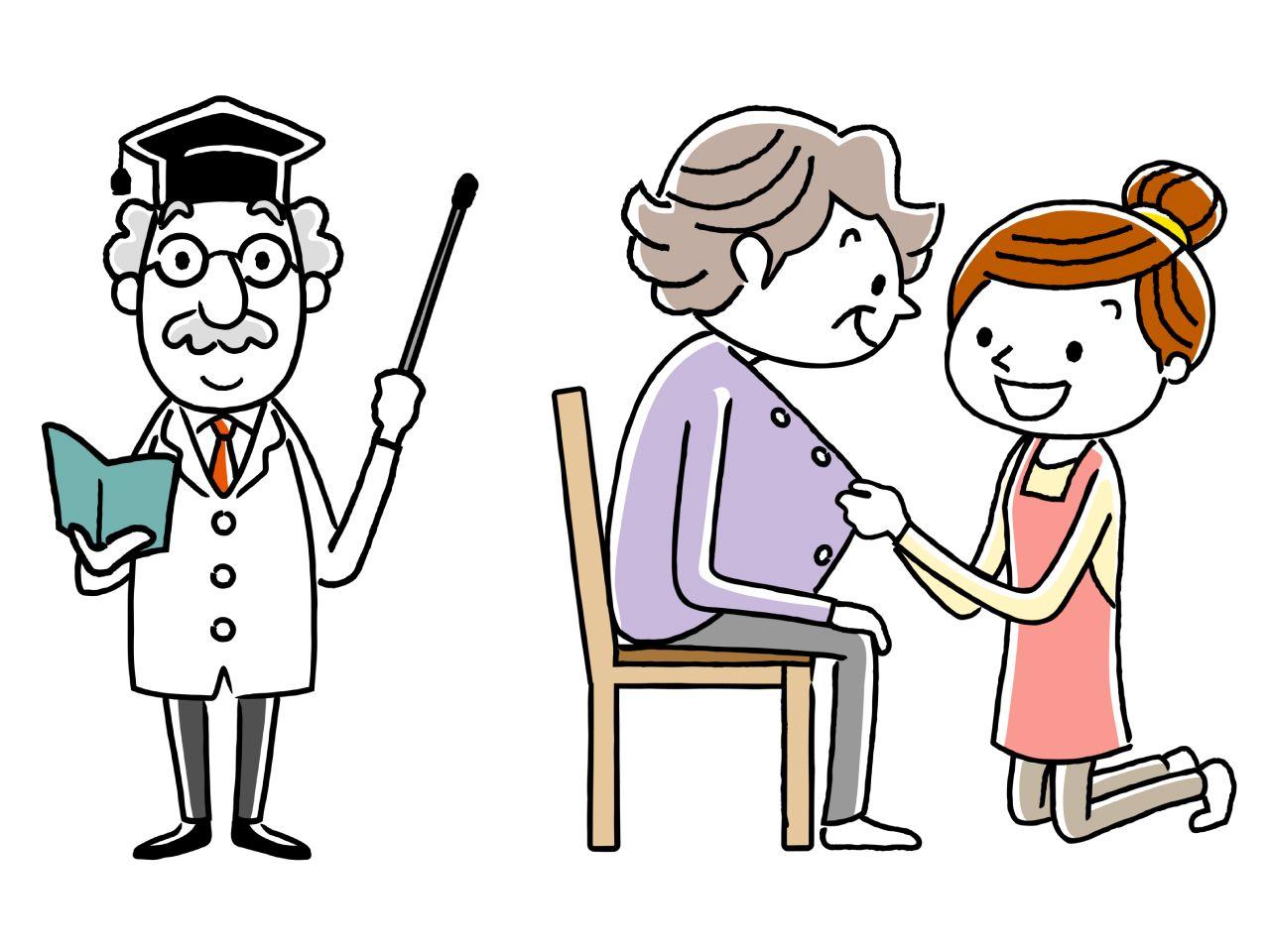 生活支援員の仕事内容や給料を説明している博士のイメージイラスト